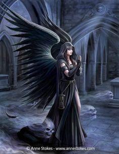 Dark Fantasy Art, Fantasy Artwork, Fantasy Art Angels, Fantasy Kunst, Fantasy Art Women, Anne Stokes, Dark Angels, Fallen Angels, Skull Tatto