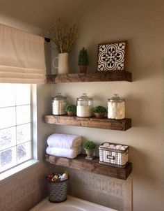 47 Comfy Farmhouse Bathroom Decor Ideas With Rustic Style is part of Small bathroom decor Farmhouse bathroom accessories can be ideal for adding decoration in addition to practicality Decorating yo - Living Room Candles, Bathroom Shelf Decor, Bathroom Storage, Bathroom Organization, Bathroom Cabinets, Toilet Storage, Bath Tub Decor Ideas, Decorating Bathroom Shelves, Farmhouse Decor Bathroom