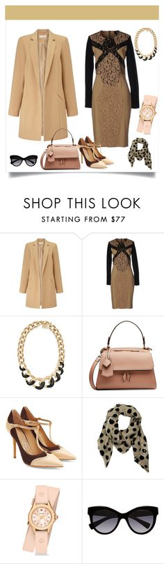 """""""Black and Nude Suit"""" by danewhite ❤ liked on Polyvore featuring Miss Selfridge, Class Roberto Cavalli, Michael Kors, Victoria Beckham, Salvatore Ferragamo, Armani Jeans, Michele and Dolce&Gabbana"""