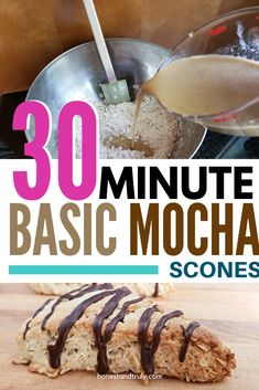 This basic scones recipe gets dressed up with a hint of mocha and a beautiful drizzle on top to make the perfect presentation for your friends and family. Everyone loves these simple mocha scones! #basicscones #sconesrecipe #basicrecipe #mocha #simplemocha Make Ahead Brunch Recipes, Vegetarian Breakfast Recipes, Egg Recipes For Breakfast, Snack Recipes, Dessert Recipes, Bread Recipes, Easy Recipes, Basic Scones, Cappuccino Recipe