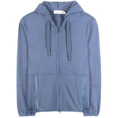 Adidas by Stella McCartney Ess Cotton-Blend Hoodie ($72) ❤ liked on Polyvore featuring tops, hoodies, blue hoodies, hoodie top, sweatshirt hoodies, blue hoodie and hooded pullover