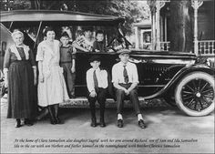 Samuelson family in Jamestown NY. Father, Bert, in the car w/ his mother Ida. Grandmother Clara Samuelson is the far left. Her son and Ida's husband, Sam Samuelson, is sitting on the running board, far right.