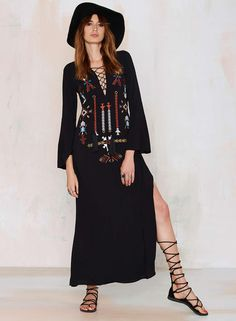 The dress is featuring v neck, lace-up front, long flare sleeve, embroidered pattern, side slit, maxi length and loose fit.;Polyester, soft and comfortable;The dress is featuring v neck, lace-up front, long flare sleeve, embroidered pattern, side slit, ma