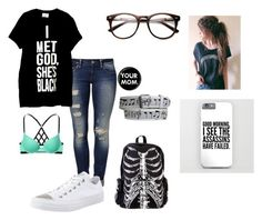 """""""My mom picked my clothes lol"""" by giggly-taco ❤ liked on Polyvore featuring Mavi, Victoria's Secret PINK and Converse"""