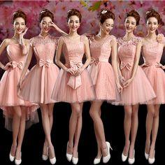 2016 nueva llegada florecida apliques modern melocotón tul de dama de honor alta escote vestidos patrones maid vestido corto diseño C3054(China (Mainland))
