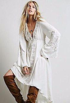 Embroidered Boho Gypsy Dress