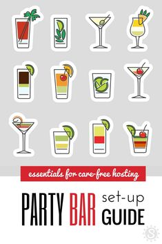Party Bar set-up Guide is a reference to all the essential tools and basic alcohol stock (for making most cocktails). Helpful measurement tips. Get this resource and keep it handy. #partybarideas #barcart #barideas #cocktails #drinks