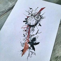 Trash polka tree, clock and raven Mais Raven Tattoo, Feather Tattoos, Arm Tattoo, Body Art Tattoos, Tattoo Drawings, Sleeve Tattoos, Trendy Tattoos, Unique Tattoos, Tattoos For Guys