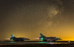 A pair of French Air Force Mirage 2000s takeoff under a starry sky in Mali !