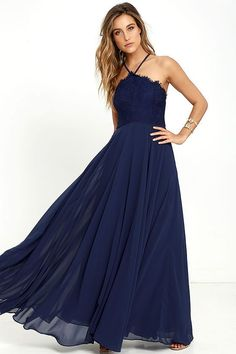 Lulus Exclusive! The Everlasting Enchantment Navy Blue Maxi Dress will have admirers under your spell! Adjustable spaghetti straps support a lacy halter bodice, then crisscross at back. Layers of chiffon sprout from a fitted waist, then sweep down to an elegant maxi length. Hidden back zipper with clasp.