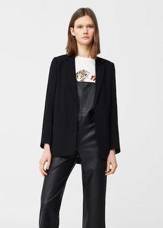 Structured crepe blazer -  Woman | MANGO Canada