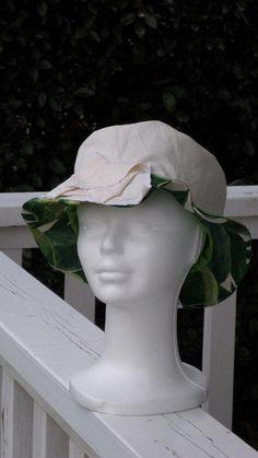 chapeau de soleil d été femme coton blanc et vert lineva Chapeaux De Soleil, 99a09f50ac4