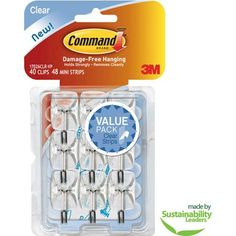 Command Clear Hooks and Strips, Plastic/Wire, Small, 9 Hooks with 12 Adhesive Strips per Pack