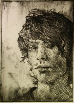"""""""dry point self portrait"""" by Broken-Lithium of deviatART. Need to learn how to do cross hatching well. Grabar Metal, Drypoint Etching, Engraving Printing, Etching Prints, Ap Studio Art, Collagraph, 2d Art, Drawing Techniques, Print Artist"""