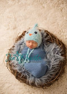 Knit Newborn Hat, BlueBird Baby Hat, Baby Photo Prop Little BlueJay Hat. $30.00, via Etsy.