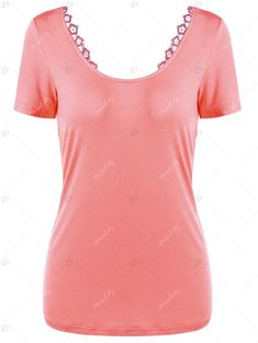 Scoop Neck Lace-up Laced Top - ORANGEPINK XL