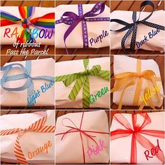 Rainbow pass the parcel game, can be modified for a different theme with maybe a riddle or clue for an animal or insect--could be great for Enrichment.