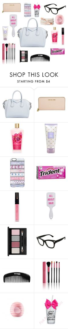 """""""What's in my purse"""" by megraciegurl ❤ liked on Polyvore featuring beauty, Givenchy, Michael Kors, Casetify, Isadora, Valentino, Japonesque and Eos - branded purse sale, ladies handbags leather, black zip purse *ad"""