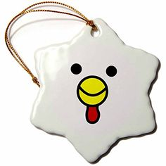 Janna Salak Designs Cute Chicken Face White Snowflake Porcelain Ornament 3Inch *** This is an Amazon Affiliate link. For more information, visit image link.