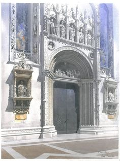 Michal Suffczynski  Portal Como Cathedral,Italy,watercolour step-by -step.