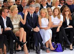 FROW: The Dior front row included (from left to right) Sean Penn, Charlize Theron, LVMH CEO Bernard Arnault with wife Helene, Valerie Trierweiler and Isabelle Huppert.