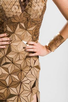 Dress made from wood veneer-designed and created by a team of four interior designers. | Treefrog IIDA FashionRemix03 ᘡղbᘠ