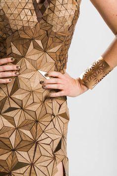 Dress made from wood veneer-designed and created by a team of four interior designers. | Treefrog IIDA FashionRemix03 ᘡղbᘠ
