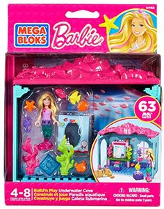 Mega Bloks Build & Play Mermaid Barbie's Underwater Cove Barbie Playset Toy Barbie Sets, Barbie Dolls, Mermaid Barbie, Underwater Creatures, Barbie Accessories, Lego Friends, All The Way Down, Building Toys, Toy Boxes