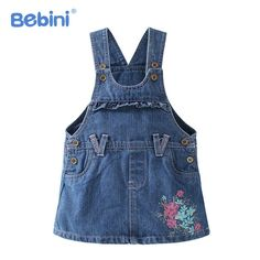 16.45$  Buy here - http://alil2v.shopchina.info/go.php?t=32794262431 - BEBINI Baby Girls Denim Dress Overalls 2017 New Spring Autumn Summer 0-3Y Kids Girl Jean Dresses Flower Printed Children Clothes 16.45$ #magazineonlinebeautiful