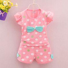 Xemonale 2017 roupas Infantis criança crianças conjuntos de roupas meninas do bebê verão tarja pontos 2 pcs arco conjuntos de roupas meninas verão conjunto