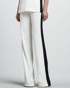 Rachel Zoe - Jett Wide Leg Pants Ivory Black #15things #fashion #style #trend #oppositesattract #rachelzoe