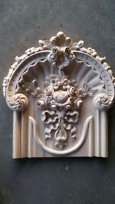 Pretty detail in carved wood. You can find similar component wood carvings… Stuck, Rose Decor, Wall Molding, Carving Designs, Clay Design, Pattern And Decoration, Hand Carved, Carved Wood, Wood Art