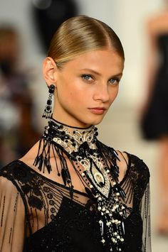 Ralph Lauren - Runway - Spring 2013 // Elegant neck piece and earrings. A good baseline for a female magic-user.