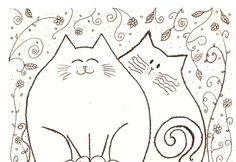 Ink Drawing two cat friends in the garden original by Coloraudia Embroidery Stitches, Embroidery Patterns, Hand Embroidery, Crazy Quilting, Splat Le Chat, Cat Quilt, Cat Crafts, Cat Pattern, Wool Applique