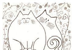 inspiration - Desenho a tinta  dois gatos amigos no jardim  by Coloraudia, $14.00