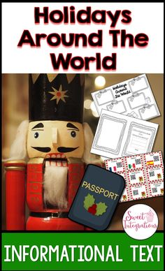 HOLIDAYS AROUND THE WORLD: Passports and Booklets for Research; Students in grades 2nd-5th grades can travel around the world to learn about different countries' holidays. Your students will love using their passports to research different countries and their special holidays and traditions. This unit covers such skills as informational text,  inquiry, differentiation, and technology.