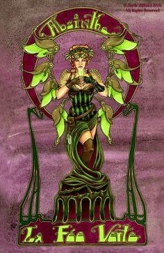 Steampunk Gothic Absinthe Art Noveau Fairy 8.5x11 Art by redrevvy, $15.00
