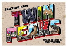 """305 Likes, 3 Comments - Twin Peaks (@welcometotwinpeaks) on Instagram: """"Greetings from Twin Peaks, where nothing is what it seems!  By @nick_stokes_design for @spoke_art…"""""""