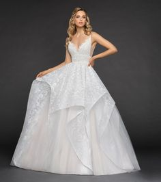 Wedding Dress Ball Gown Style 6850 Markle Hayley Paige bridal gown - Ivory labyrinth caviar ball gown, scalloped sweetheart neckline with spaghetti straps and ivory net side cut out, full cascading caviar and tulle skirt with cashmere lining. Formal Dresses For Weddings, Used Wedding Dresses, Wedding Dress Sizes, Wedding Dress Sleeves, How To Dress For A Wedding, Perfect Wedding Dress, Tulle Ball Gown, Ball Gowns, Hayley Paige Bridal