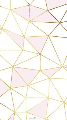 Cute Pale Pink and White Triangles with Gold Trim iPhone Background
