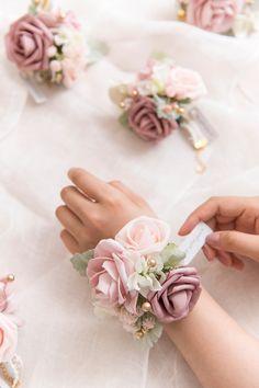 Dusty Rose Bridal Flower (Bouquet/Wrist Corsages/Boutonnieres)