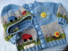 Baby Knitting Patterns For Kids Picture book set 'Sunday excursion'! Handknitted baby jacket with matching … Baby Knitting Patterns, Baby Patterns, Crochet Patterns, Sweater Patterns, Crochet For Boys, Knitting For Kids, Boy Crochet, Knit Baby Sweaters, Baby Knits
