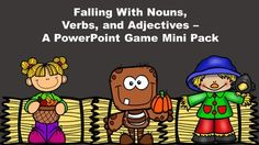 Falling With Nouns, Verbs, and Adjectives - A PowerPoint Game Mini Pack Bundle Different Parts Of Speech, Powerpoint Games, Nouns And Verbs, Autumn Activities For Kids, Teaching Grammar, Teacher Resources, Teaching Ideas, Elementary Education, Phonics