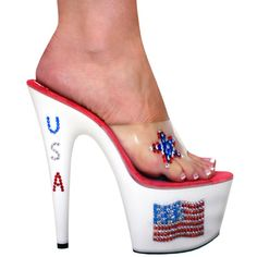 Sexy High Heel Stiletto Slippers, Clear, Rhinestone USA Flag - Click picture TWICE to order & see pricing Blue Heels, White Heels, Sexy Heels, High Heels Stilettos, Pumps, Bedroom Heels, Stripper Heels, Killer Heels, American Pride