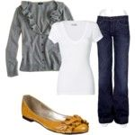 Love the yellow flats with denim and gray!