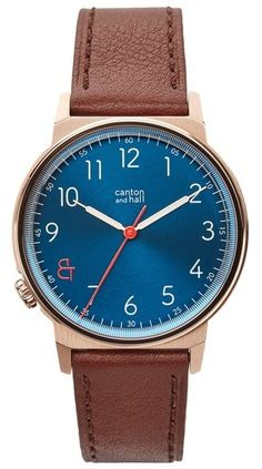 Canton and Hall Davis Slim Leather Strap Watch, Brown Leather Watch, Nordstrom, Slim, Watches, Accessories, Clocks, Clock