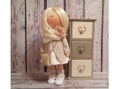 Lovely doll Tilda doll Art doll handmade blonde light brown colors Rag doll Soft doll Fabric doll Home doll by Master Irina Bukina