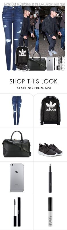 """""""Night Out in California at the LAX Airport with Niall"""" by elise-22 ❤ liked on Polyvore featuring Topshop, adidas Originals, Want Les Essentiels de la Vie, NIKE, MAC Cosmetics, shu uemura, NARS Cosmetics and ASOS"""