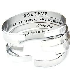 Buy Confidence Cuffs Hand Stamped Aluminum Cuff Bracelets - with NEW Quotes for 2016 by Jessie Girl Jewelry on OpenSky Girls Jewelry, Cute Jewelry, Metal Jewelry, Jewlery, Jewelry Ideas, Diy Jewelry, Unique Jewelry, Not My Circus, It Goes On