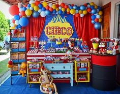 Image may contain: indoor 2nd Birthday Party Themes, Carnival Birthday Parties, Circus Birthday, First Birthday Parties, Birthday Party Decorations, Dumbo Birthday Party, Carnival Party Foods, Circus Carnival Party, Circus Theme Party
